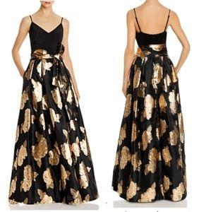 Eliza J metallic gold rose ball gown dress